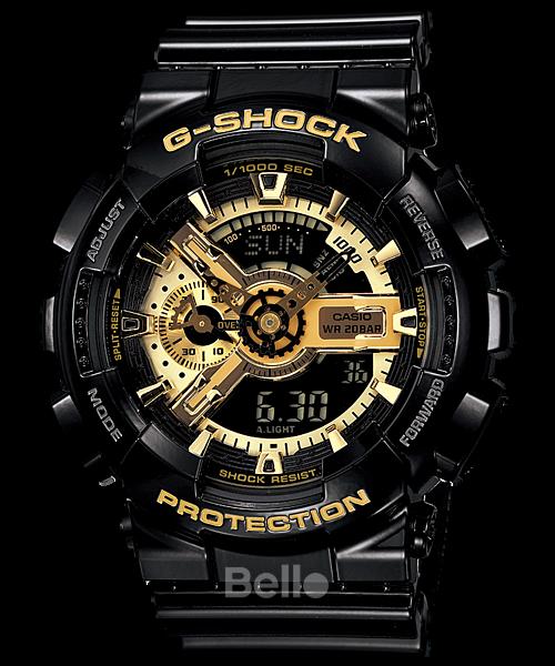 GA-110GB-1A - Đồng hồ Casio G-Shock chính hãng - Dây đen bóng, mặt vàng GOLD, bán chạy số 1 Việt Nam 3 năm liên tiếp