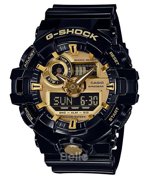 GA-710GB-1A - Đồng hồ Casio G-Shock GA-700 chính hãng dây đen, mặt vàng Black & Gold
