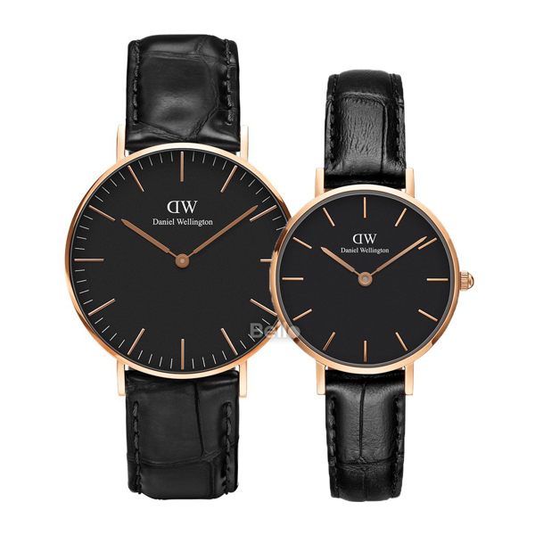 Daniel Wellington Black Reading Rose Gold Couple 36-28