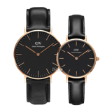 Daniel Wellington Black Sheffield Rose Gold Couple 36-28