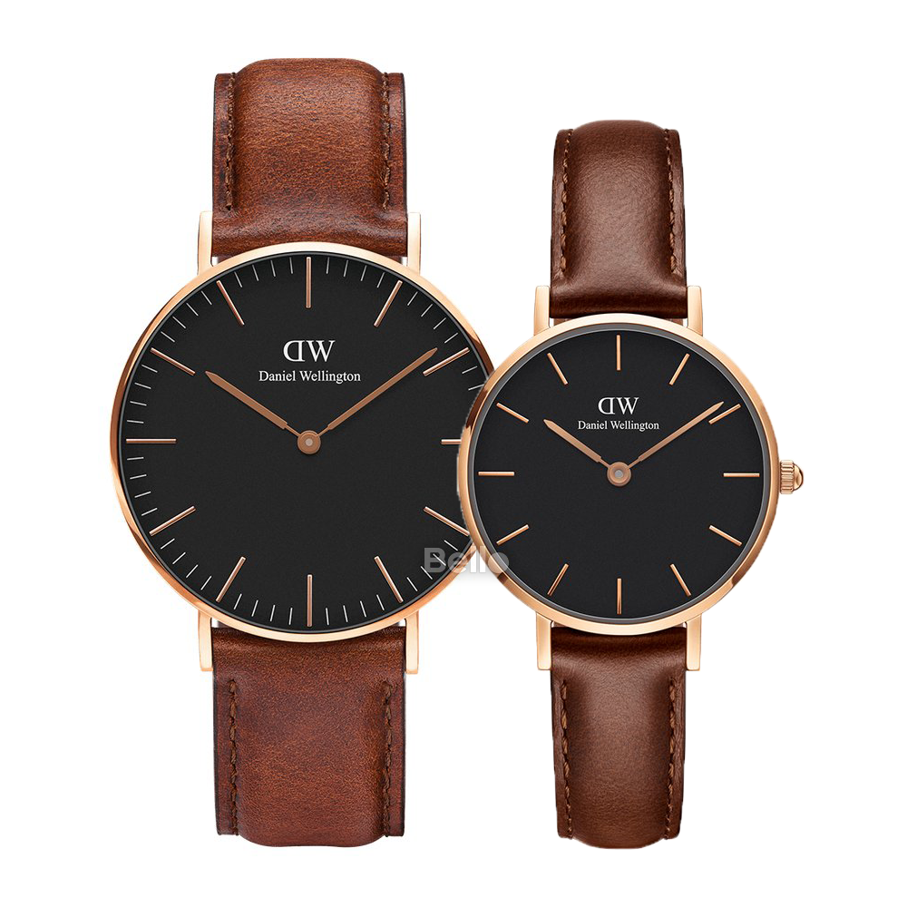 Daniel Wellington Black St Mawes Rose Gold Couple 36-28