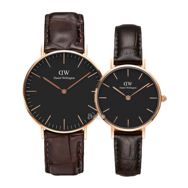 Daniel Wellington Black York Rose Gold Couple 36-28