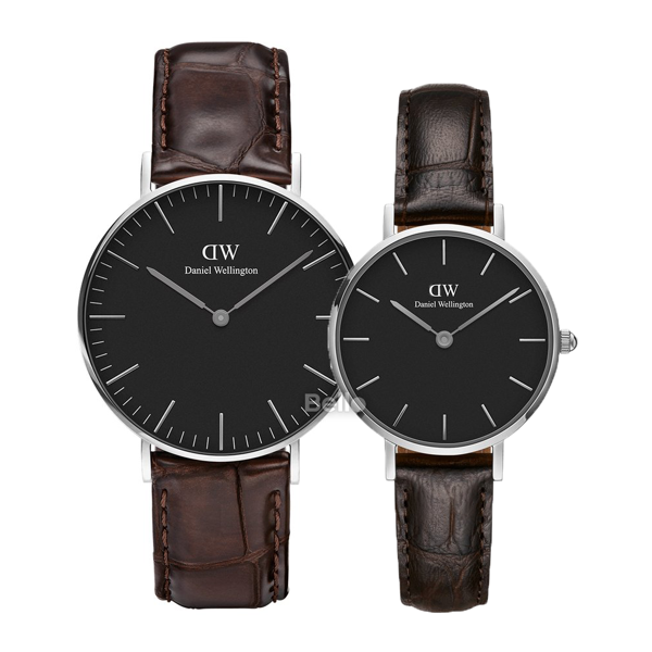Daniel Wellington Black York Silver Couple 36-28