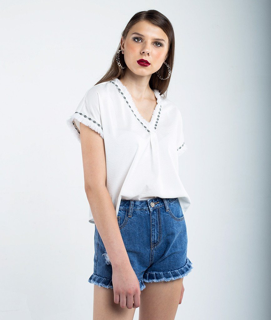 Quần short denim bèo ly