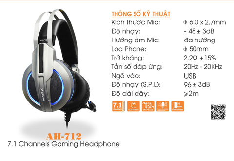 HEADPHONE  Over-ear SOUNDMAX AH-712 (Bạc, Đen)