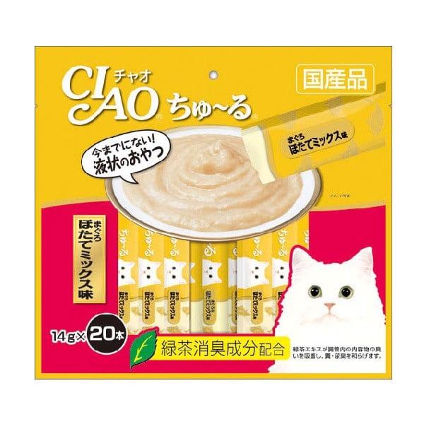 Súp Thưởng Ciao Dành Cho Mèo Cá Ngừ Thịt Trắng Và Sò Điệp SC-129 14g x 20