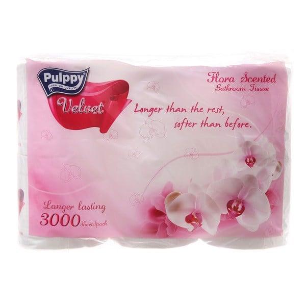 Giấy Vệ Sinh Pulppy Velvet Hương Hoa - Lốc 6 Cuộn