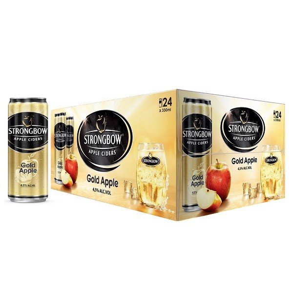 Thùng 24 Lon Cao Strongbow Apple Ciders Gold 330ml