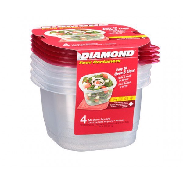 Combo 4 Hộp Thực Phẩm Diamond Medium Square 946ML