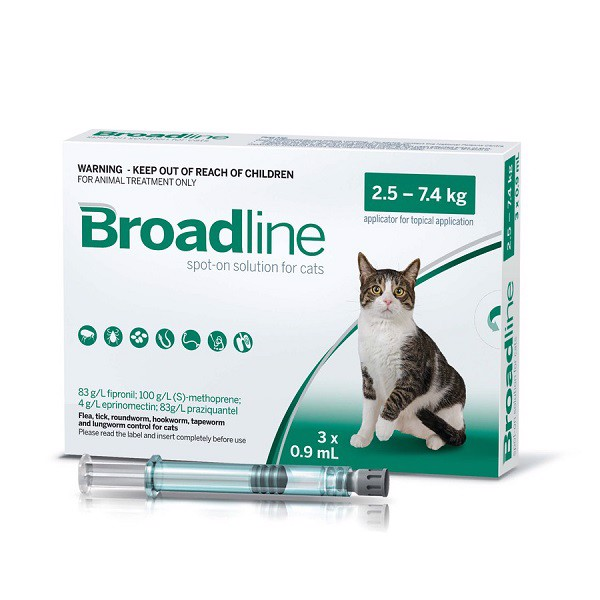 Thuốc Nhỏ Gáy Trị Ký Sinh Cho Mèo Broadline Spot On Cat 2.5-7.5kg 3 Tuýp