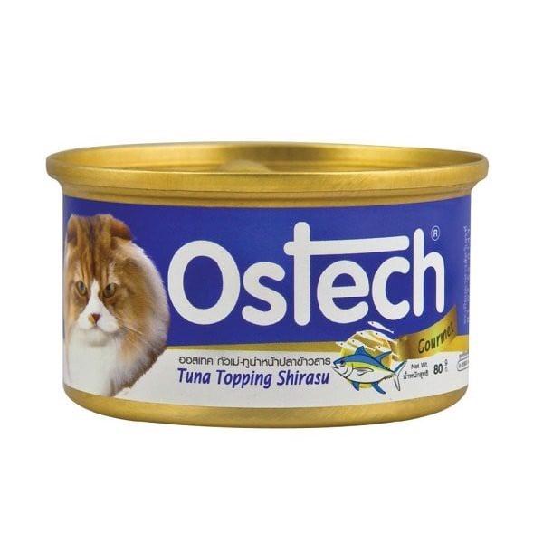 Thức Ăn Ướt Cho Mèo Vị Cá Ngừ Topping Cá Cơm Ostech 80g