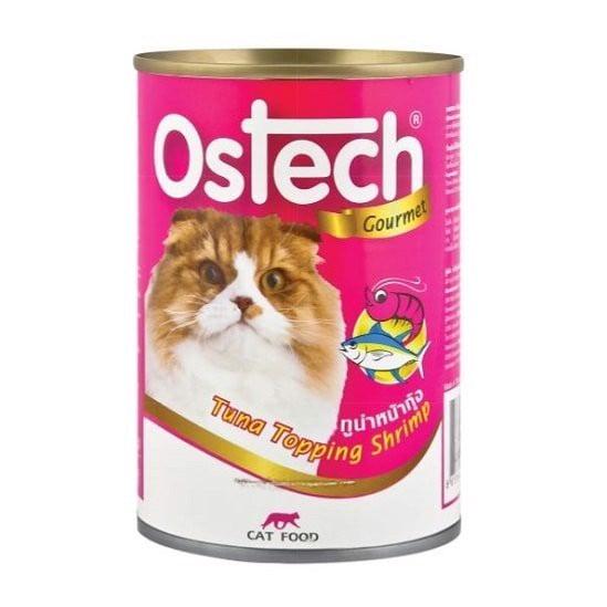 Thức Ăn Ướt Cho Mèo Vị Cá Ngừ Topping Thịt Tôm Ostech 400g