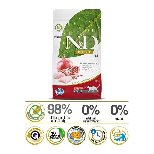 Thức Ăn Hạt Cho Mèo Adult Chicken & Pomegranate Farmina N&D Prime 300g