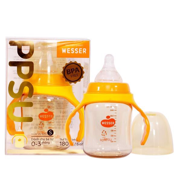 Bình Sữa PPSU Wesser (Cổ Rộng) 180ml