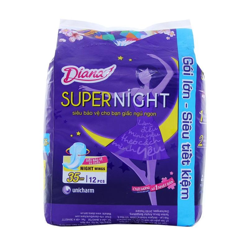 Băng Vệ Sinh Diana Super Night Có Cánh 35cm - Gói 12 Miếng
