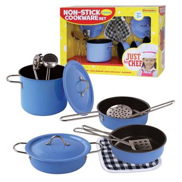 Bộ đồ dùng nhà bếp tiện dụng (11 món - xanh) Champion MB - CH20315EM-BLUE   Just for Chef Non-stick Cooking Ware Set (Blue - 11 pieces) CH20315EM