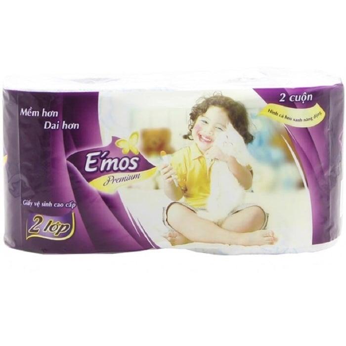 Giấy Vệ Sinh Emos Premium 10 Cuộn 2 Lớp Cá Heo Xanh
