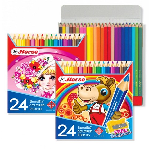 HORSE CHÌ MÀU H 2080/24 KÈM CHUỐT | HORSE COLOR PENCIL 2080/24 PLUS SHARPENER