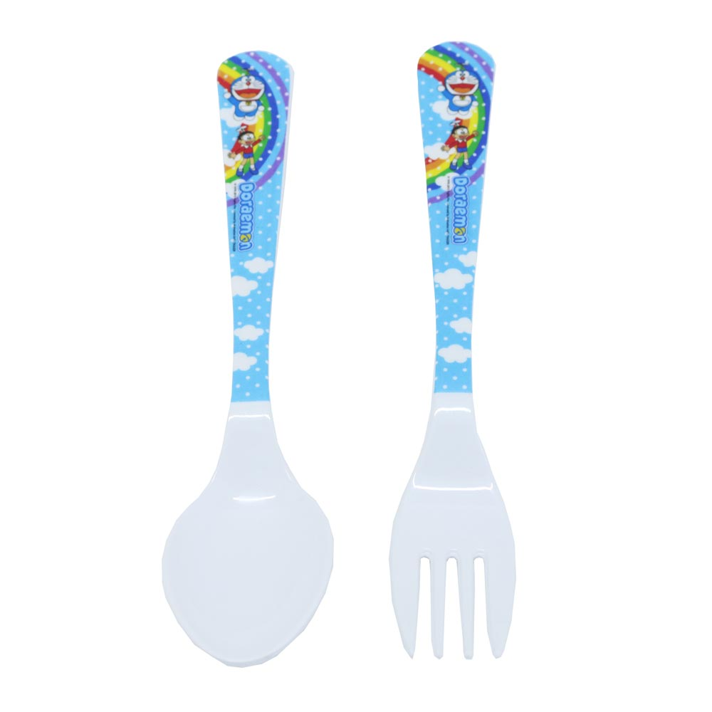 Bộ muỗng nĩa lớn DORAEMON RAINBOW | Doraemon Rainbow Fork and Spoon Set