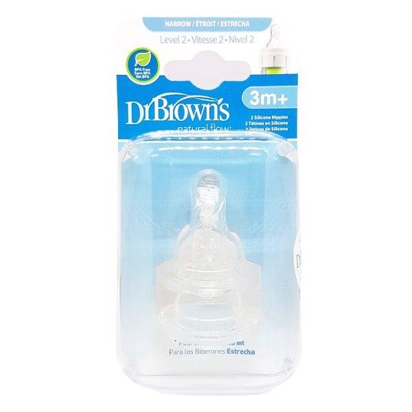 Bộ 2 Núm Ti Bình Sữa Cổ Hẹp Dr Brown's số 2, 3-6M