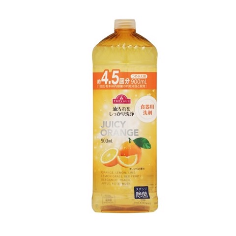 Nước Rửa Chén (Hương Cam) Topvalu - 900ml | Topvalu Dishwashing Liquid (Orange Flavor) -900ml Bottle