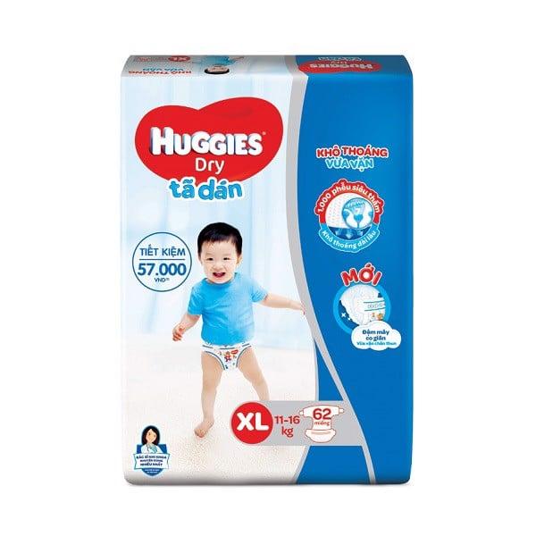 Tã Dán Huggies Dry Super Jumbo Cho Bé Từ 11-16kg XL62 - 62 Miếng