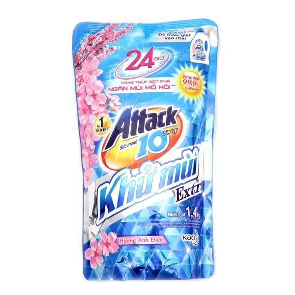 Nước Giặt Attack Khử Mùi Túi 1.4kg - Hương Hoa Anh Đào