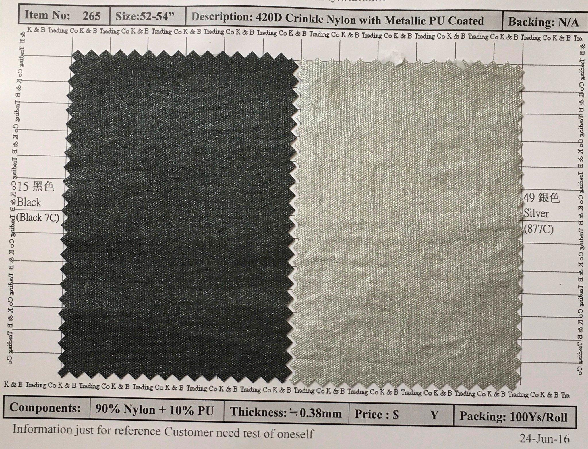 item 265 420d crinkle nylon with metalic pu coated