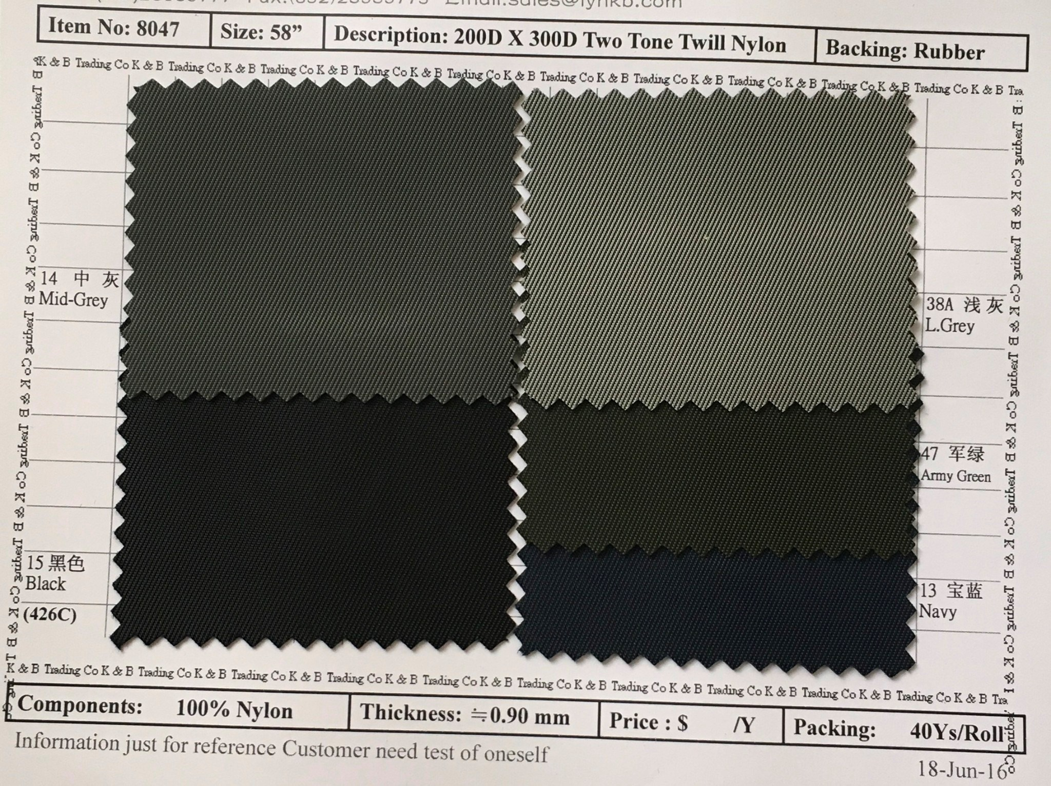 item 8047 200dx 300d two tone twill nylon backing rubber
