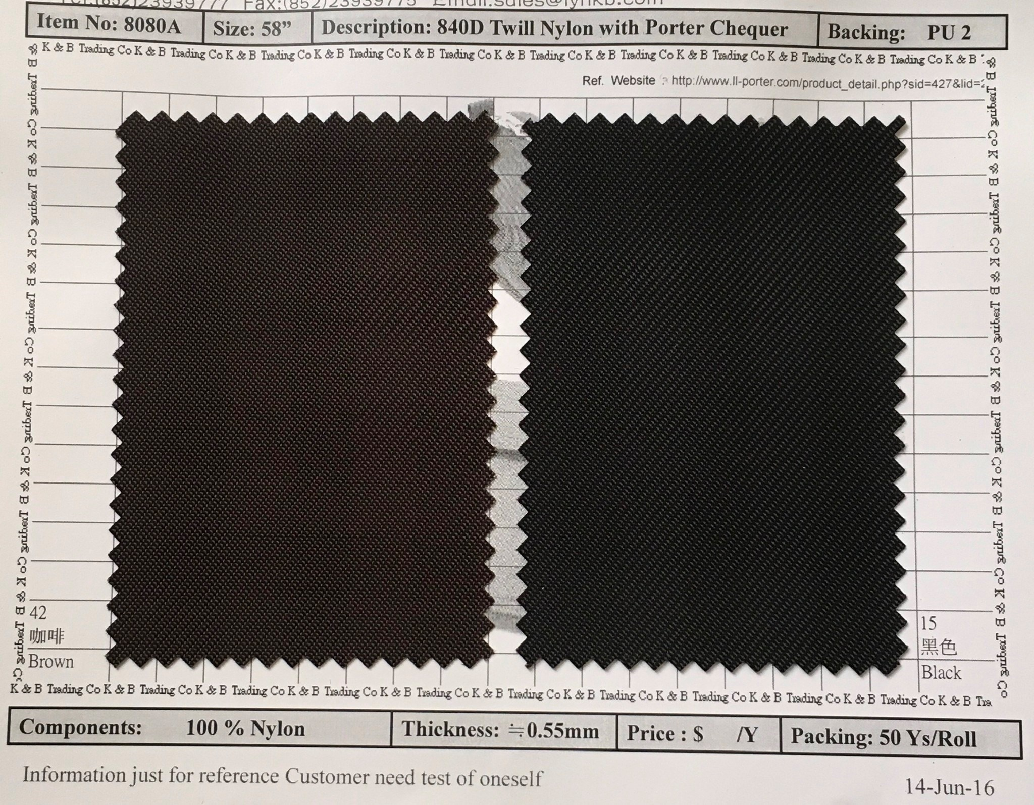 item 8080a 840 twill nylon with porter chequer backing pu2