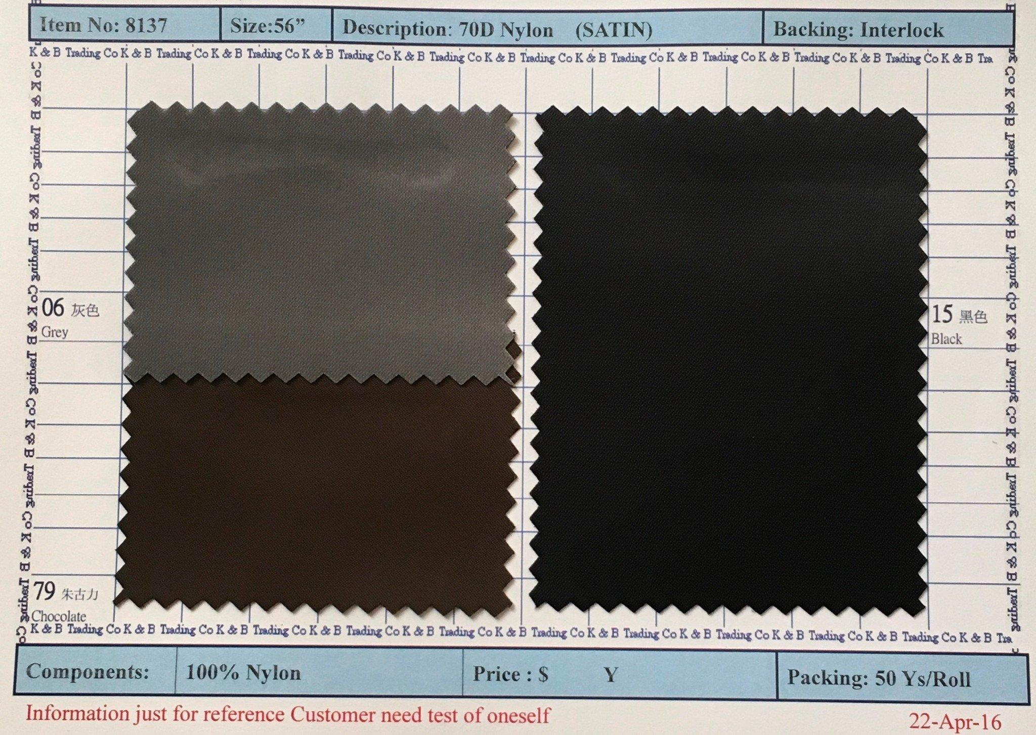 item 8137 70d nylon satin backing interlock