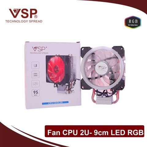 Fan CPU 2U- 9cm LED RGB  (Hỗ Trợ Đa Socket Intel & AMD)