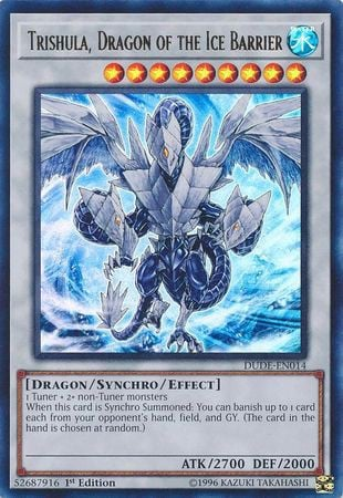 [ UK ] Trishula, Dragon of the Ice Barrier - DUDE-EN014 - Ultra Rare 1st Edition
