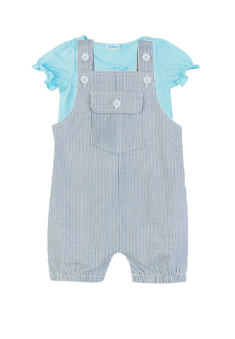 Set Cotton Tee and Jumpsuit with grey stripes