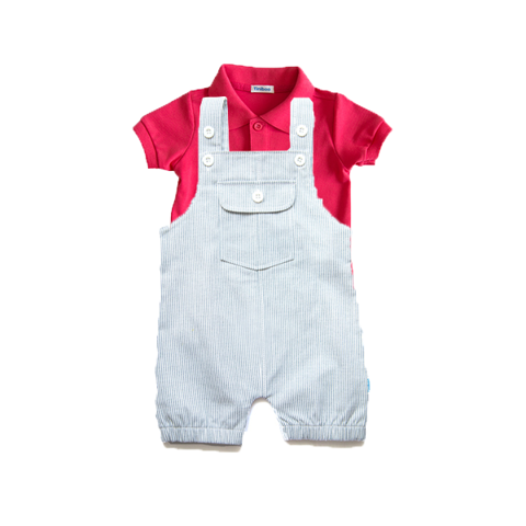 Set Premium Polo and Jumpsuit with grey stripes