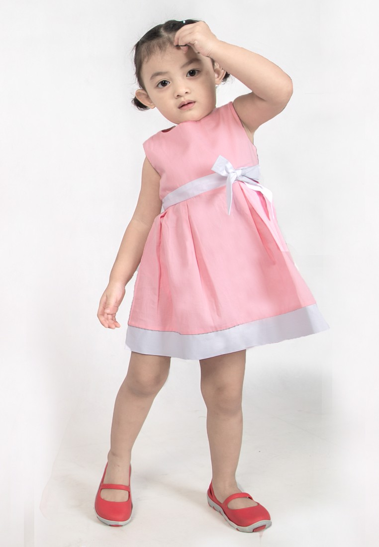 Pink Princess - Cotton dress with bow belt
