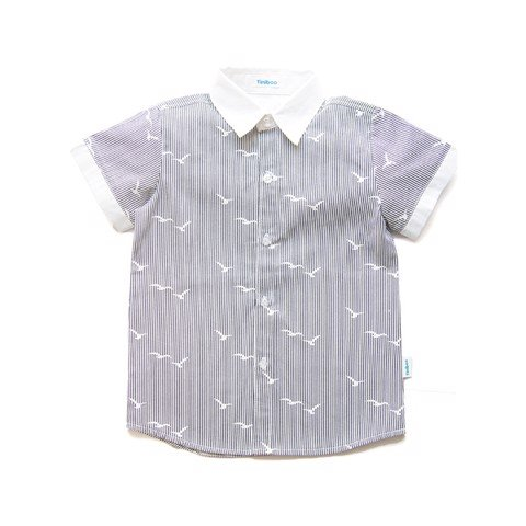 Cotton shirt with grey stripes and prints
