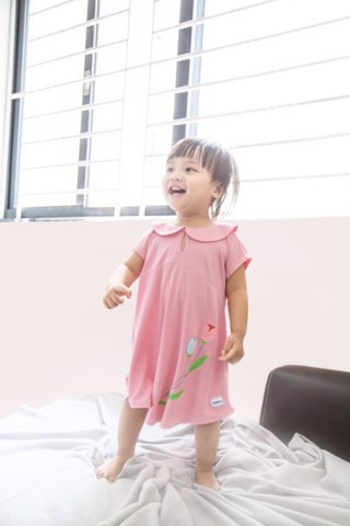Cotton Dress Freedom in Wind - Pink