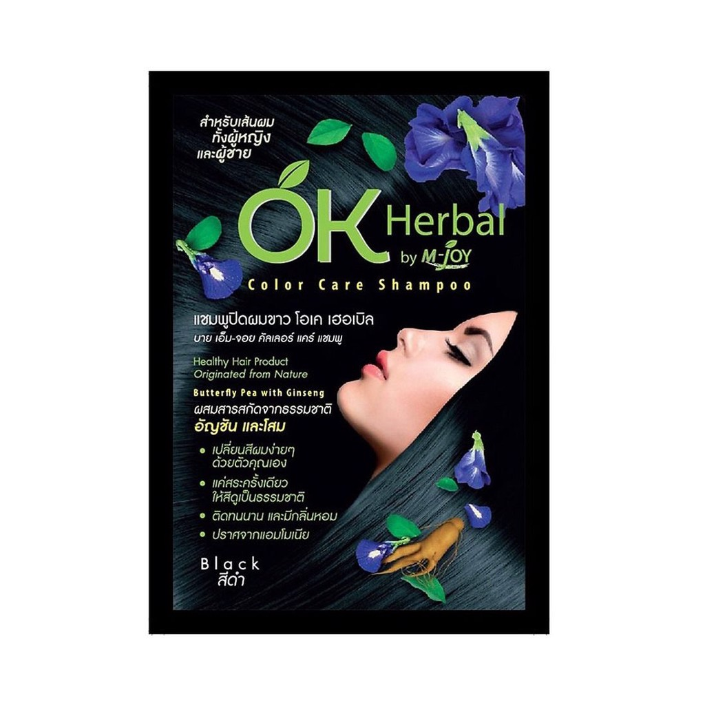 Dầu gội đen tóc M-Joy OK Herbal Color Care Shampoo gói 30ml