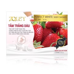 Tắm trắng dâu Zoley Perfect White Body Shower Set 2in1 spf 45 120g