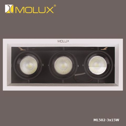 Đèn downlight led ba bóng MOLUX COB ML502/3*15W(360*120*160mm)