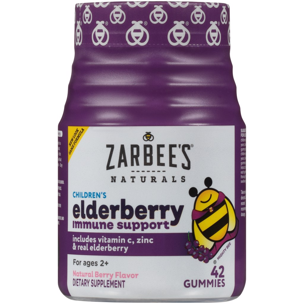 Zarbee's Naturals Children's Elderberry Immune Support* Gummies, With Vitamin C, Zinc and Real Elderberry, Natural Berry Flavor, 42 Gummies