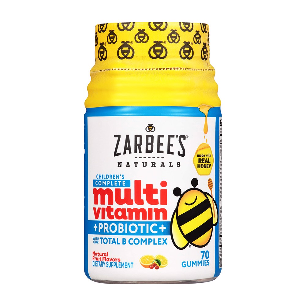 Zarbee's Naturals Children's Complete Multivitamin + Probiotic Gummies with Our Total B Complex and Essential Vitamins