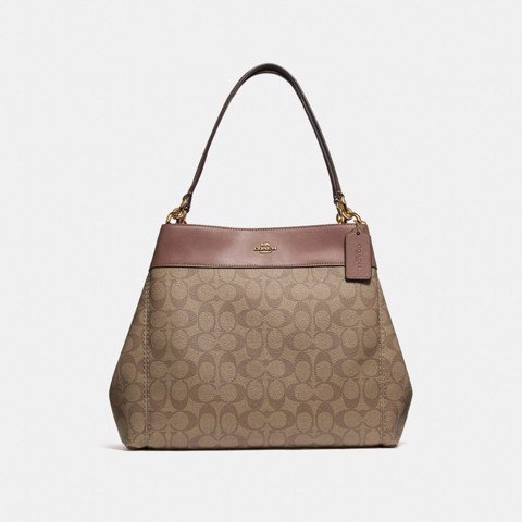 Túi COACH LEXY SHOULDER BAG IN SIGNATURE CANVAS F27972 KHAKI-SADDLE 2-IMITATION GOLD