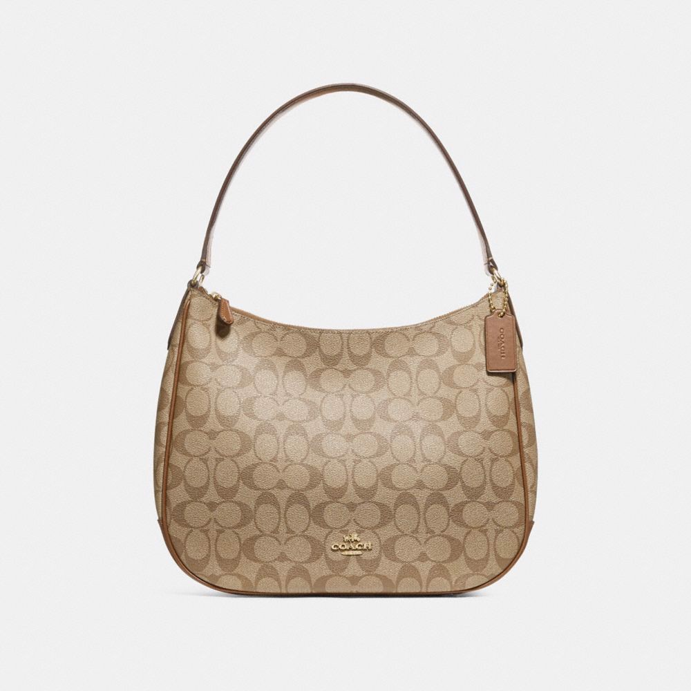 Túi COACH ZIP SHOULDER BAG IN SIGNATURE CANVAS F29209 KHAKI-SADDLE 2-IMITATION GOLD