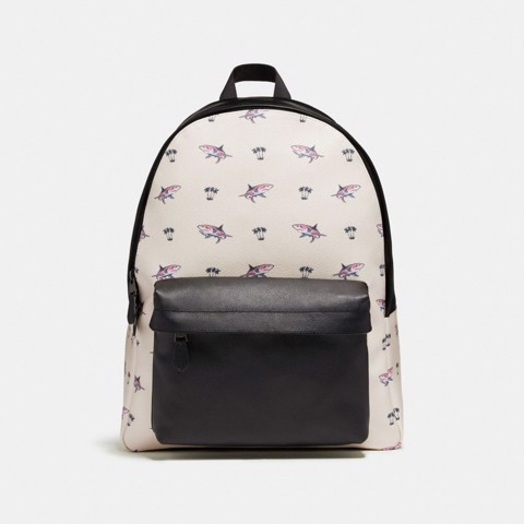 Túi COACH CHARLES BACKPACK WITH SHARK PALM TREE PRINT F29031 BLACK ANTIQUE NICKEL-CHALK MULTI