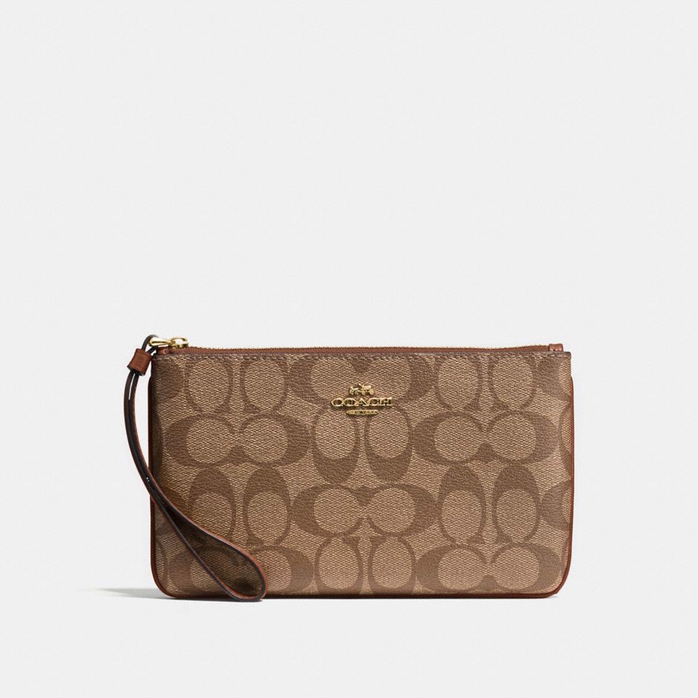 Túi COACH LARGE WRISTLET IN SIGNATURE CANVAS F58695 KHAKI-SADDLE 2-IMITATION GOLD