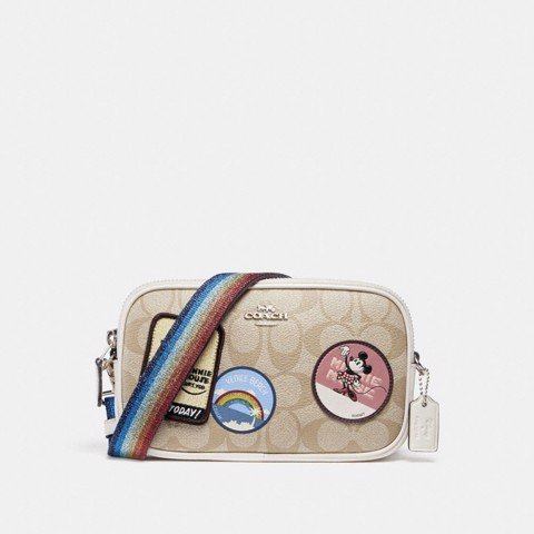 Túi COACH CROSSBODY POUCH IN SIGNATURE CANVAS WITH MINNIE MOUSE PATCHES F31349 SILVER-LIGHT KHAKI-CHALK
