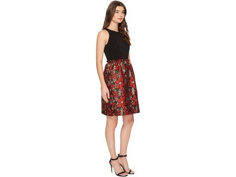 Váy Tahari Mettalic 7220M559 - 6 - Black/Red/Gold