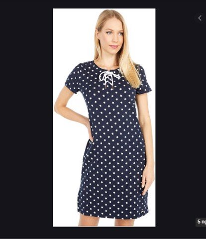 Váy Tommy Short Sleeve Star Lace-Up Dress Sky Captain sz S
